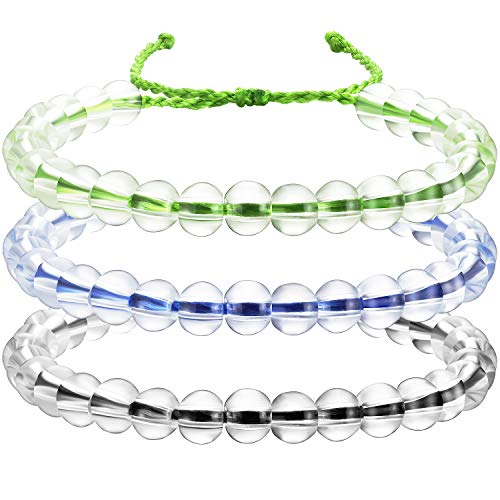 Clear Bead Bracelet - meekoo 3 Pieces Transparent Glass Bead