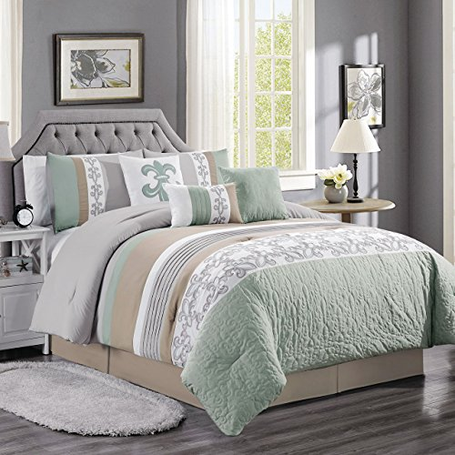 KingLinen 11 Piece Osier Sage/Taupe/Gray Bed in a Bag Set Queen ()