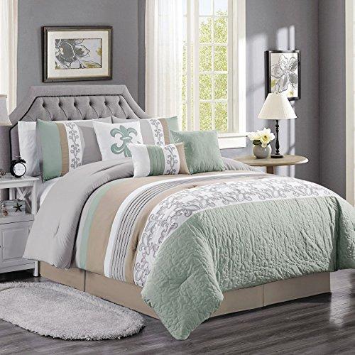 (KingLinen 7 Piece Osier Sage/Taupe/Gray Comforter Set)