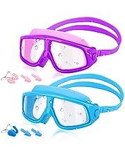 HeySplash [2PZS Universal Gafas de Natación para Niños, Anti-Niebla Gafas de Robustas Lentes PC con Protección UV en Marco Grande para Niños de 5 a 16 Años