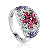 BERRICLE Sterling Silver 3 ct Simulated Ruby Cubic Zirconia CZ Flower Fashion Cocktail Ring