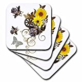 3dRose cst_102672_1 Steampunk Bees and Flowers Funk Design Soft Coasters, Set of 4