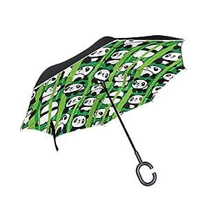 ALAZA Cartoon Panda Bamboo Inverted Umbrella, Large Double Layer Outdoor Rain Sun Car Reversible Umbrella