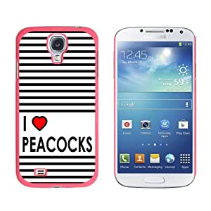 Graphics and More I Love Heart Peacocks Snap-On Hard Protective Case for Samsung Galaxy S4 - Non-Retail Packaging - Pink