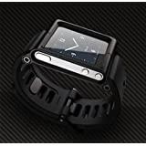 Ipod Nano 6 6th Gen Wristband Wrist Band Watch Strap / Bracelet Cover Case Cool Aluminum Material ( Black Color )