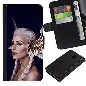 Paccase / Billetera de Cuero Caso del tirón Titular de la tarjeta Carcasa Funda para - Fairy Tale White Woman Hair Wings Red Lips - Samsung Galaxy S5 Mini, SM-G800, NOT S5 REGULAR!