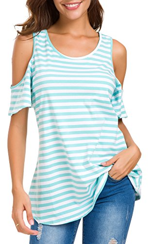 HBEYYTO Womens Cold Shoulder Striped Print T Shirt Short Sleeve Round Neck Casual Loose Tops Blouse S-XXL