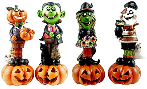 Gerson Witch Ghost Dracula Jack-O-Lantern Light Up Figurines - Set of 4 ()