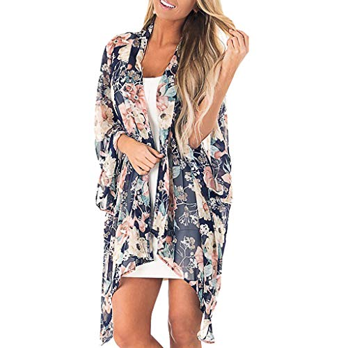 Cardigans for Dresses Womens Cardigans, Oasisocean Women's Flowy Chiffon Kimono Cardigan 3/4 Sleeve Boho Style Beach Cover Up Casual Loose Top Navy