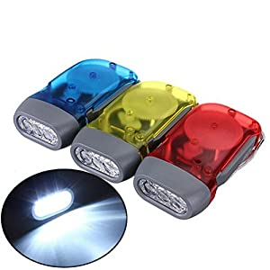 Led Flashlight - 3 Led Dynamo Wind Up Hand-Pressing Crank Flashlight - 1PCs
