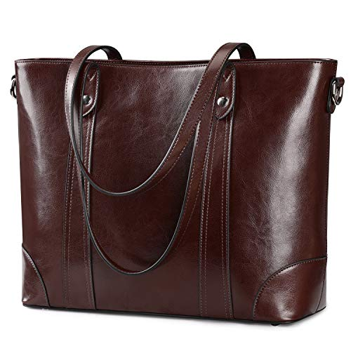 S-ZONE 15.6 Inch Leather Laptop Bag for Women Shoulder Bag Large Work Tote with Padded Compartment (Coffee)