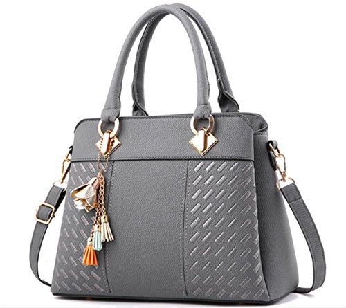 Shoulder Bag Crossbody Bags Satchel Gray Leather Handbags Women Handle Top Messenger Nodykka pZwxHgqdZ