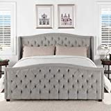 Jennifer Taylor Home 52130-4-857-2 Marcella Tufted Wingback King Bed, Silver Grey