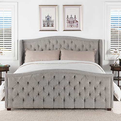 Jennifer Taylor Home Marcella Tufted Wingback King Bed, Silver Grey