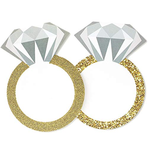 (24-Pack Diamond Ring Drink Coasters for Wedding Bachelorette Party Supplies 4 x 5.5 Inches)
