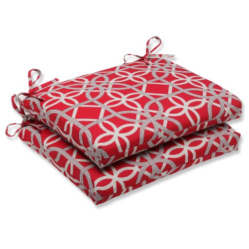 Pillow Perfect Outdoor Keene Cherry Squared Corners Seat Cushion, Set of 2