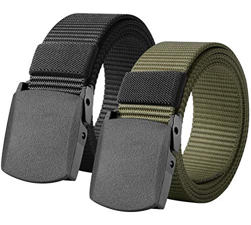 Loritta 2 Pack Mens Canvas Belts Nylon Military Tactical Web Belt With Plastic Buckle, Style 02(Black + Army Green)