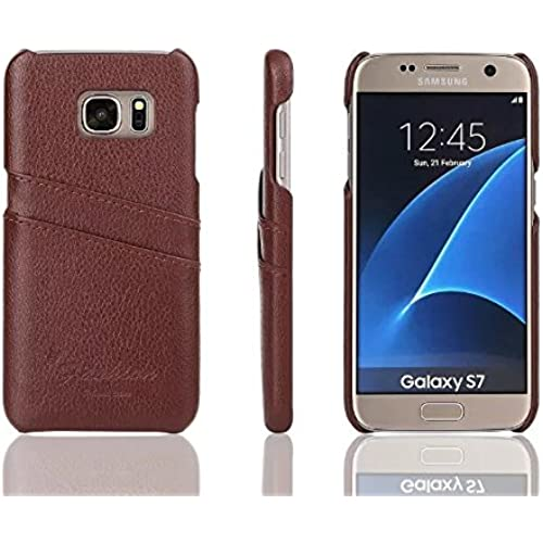 Samsung Galaxy S7 Card Case ,Premium split Leather litchi stria Wallet Case with 2 Card Holder Slots for Galaxy S7(2016)--Brown Sales
