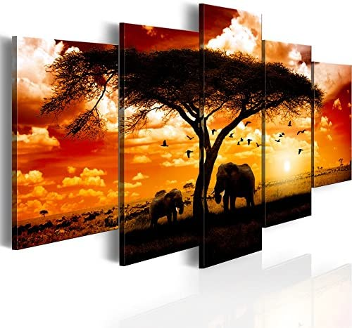 Konda Art 5 Panel African Elephant Painting on Canvas Wall Decor Art Animal Picture for Living Room Landscape Sunset Artwork Framed and Ready to Hang Flock madarak eg sz szavanna, 40 x 20