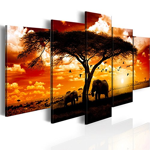 Konda Art 5 Panel African Elephant Painting on Canvas Wall Decor Art Animal Picture for Living Room Landscape Sunset Artwork Framed and Ready to Hang (Flock madarak egész szavanna, 40''x 20'') by Konda Art