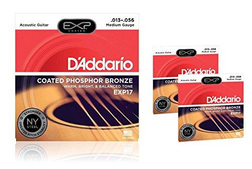 Bass Strings Coated Phosphor Bronze - D'Addario EXP17 Coated Phosphor Bronze Medium Acoustic Guitar Strings 3-Pack