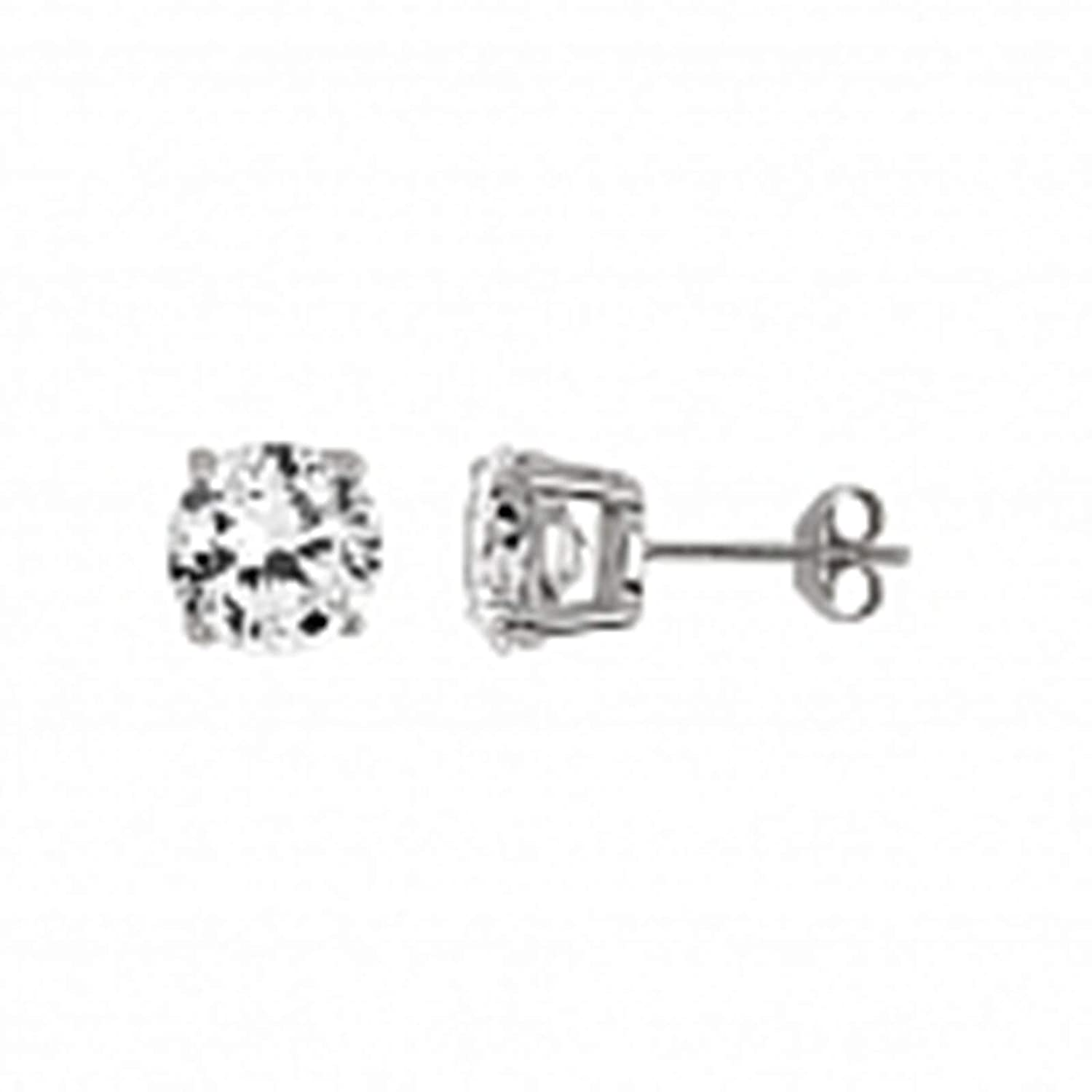 Aienid 8MM Rhodium Plated Round Basket CZ Stud Earrings for Women