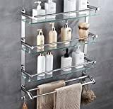 LJMM Bathroom glass shelf,304 stainless steel towel rack,shelf,bathroom rack,double wall glass hanging,60cm,Three layer double pole hook