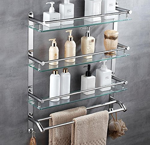 LJMM Bathroom glass shelf,304 stainless steel towel rack,shelf,bathroom rack,double wall glass hanging,60cm,Three layer double pole hook by LJMM