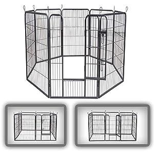 zoomundo Parque Perros Jaula Plegable Mascotas para Animales Entrenamiento Puerta Recinto Gatos 8 Vallas – XXL