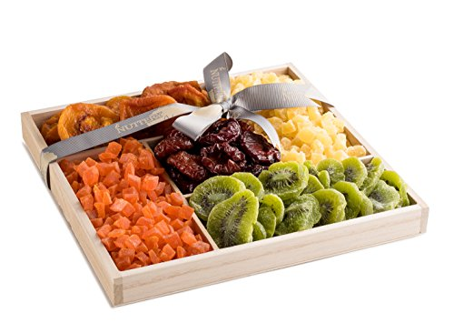 The Nuttery Premium Dried Fruit Classic Gift Basket-Dried Fruit Mix Gift Box-Healthy Snacking Gift Set-Wooden Tray Sectional Tray for Gift (Gift Ultimate Tray)