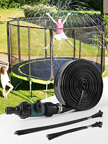 SHARKOOL Trampoline Sprinkler Trampoline Water Sprinkler Summer Toys Water Games Fun for Kids Outside, Sprinklers Backyard Water Park Trampoline Accessories 39.4 ft, Outdoor Water Toys for Kids