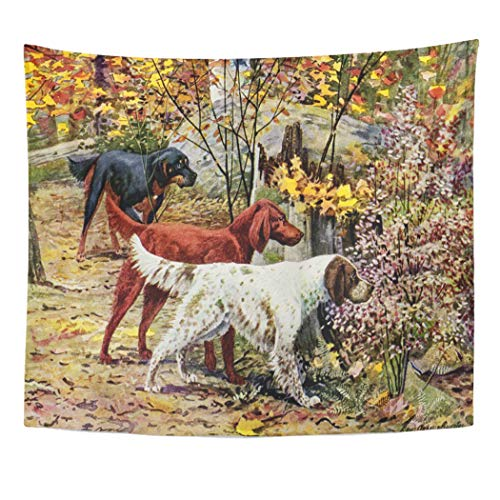 Semtomn Tapestry Artwork Wall Hanging Three Vintage Dogs Setter Trio Gordon Irish English 60x80 Inches Home Decor Tapestries Mattress Tablecloth Curtain Print ()