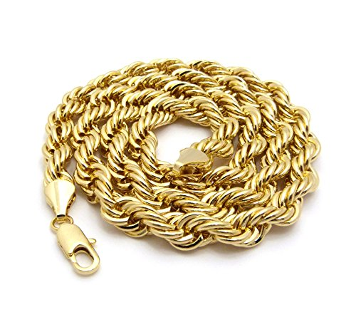 Fashion 21 Hip Hop 80' Unisex Rapper's 9mm Various Size Hollow Rope Chain Necklace in Gold, Silver Tone (9mm 30