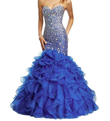 H.S.D Women's Sweetheart Mermaid Beaded Organza Long Prom Dresses Royal Blue