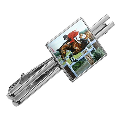 Tack Horse Tie (Graphics and More Horse Show Jumping Stadium Square Tie Bar Clip Clasp Tack Silver Color)