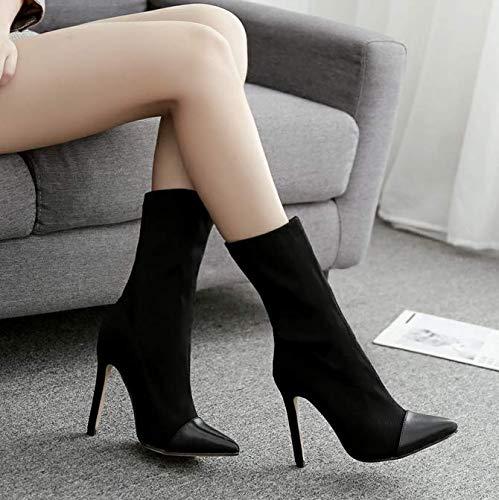 High boots boots heels Black socks and boots Elastic boots boots Hq6wnHraT