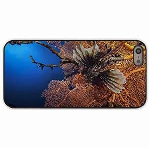 iPhone 5 5S Black Hardshell Case lionfish striped lionfish zebra fish corals Desin Images Protector Back Cover