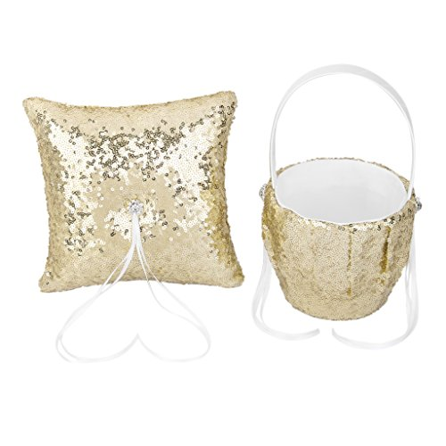 Gold Ring Bearer Pillow - MonkeyJack Elegant Gold Sequins Wedding Ceremony Party Ring Pillow Cushion Bearer Flower Girl Basket