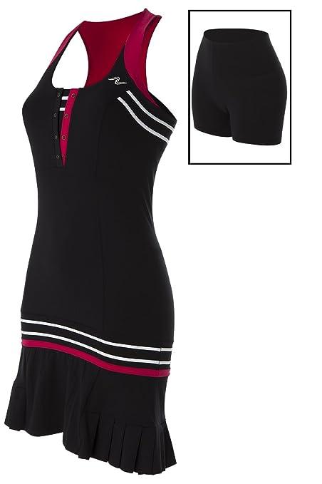Naffta Paddle-Tennis - Vestido para mujer, color negro/borgoña, talla S