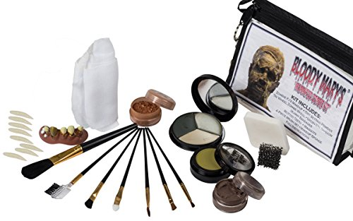 Mummified Zombie Makeup Kit By Bloody Mary - Complete Halloween Special Effects Make Up Supplies Set - Foundation Wheel, Eyeshadow, Bandages, Brushes, Sponge, Rotted Teeth & Maggots - Zippered Case -