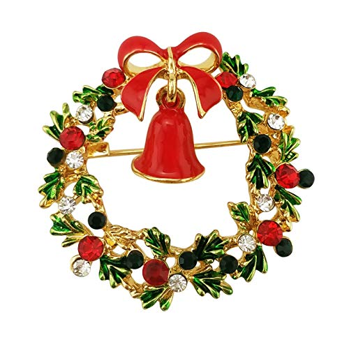 XGALA Enamel Bell Wreath Christmas Brooch Pin Gold Tone Crystal Green Red (Christmas Wreath Pin)