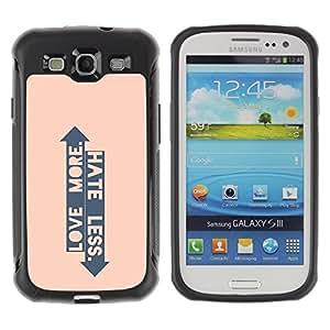 Suave TPU GEL Carcasa Funda Silicona Blando Estuche Caso de protección (para) Samsung Galaxy S3 III I9300 / CECELL Phone case / / Peach Arrow Love Hate Up Down Quote /