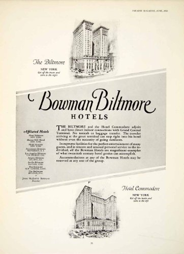1924 Ad John McEntee Bowman Biltmore Hotel New York Commodore Architecture - Original Print Ad