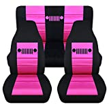 Totally Covers Fits 1997-2006 Jeep Wrangler TJ Seat Covers: Black & Hot Pink - Full Set: Front & Rear (23 Colors) 1998 1999 2000 2001 2002 2003 2004 2005 2-Door Complete Back Bench