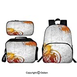 Oobon Kids Toddler School Waterproof 3D Cartoon 16' Backpack, Basketball Streetball and Paint Stains Image on Concrete Wall Rustic Decoration, with Lunch bag Pencil bag Three-piece