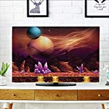 L-QN Cover for Wall Mount tv Fantasy Spot with Golden River in Mars with Nebula and Other Planets Solar Cover Mount tv W36 x H60 INCH/TV 65''