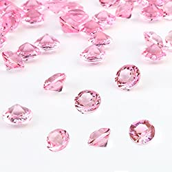 Outuxed 1500pcs 8mm Clear Pink Wedding Table Scattering Crystals Acrylic Diamonds Wedding Bridal Shower Party Decorations Vase Fillers, with 1 Large Drawstring Bag
