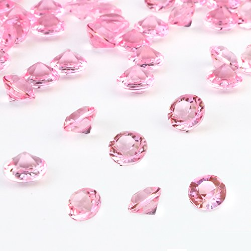 (OUTUXED 1500pcs 8mm Clear Pink Wedding Table Scattering Crystals Acrylic Diamonds Wedding Bridal Shower Party Decorations Vase Fillers, with 1 Large Drawstring Bag)