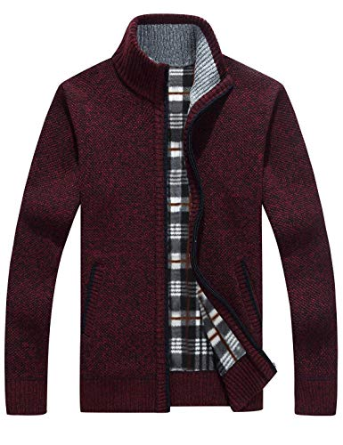 Yeokou Men's Slim Fit Zip Up Casual Knitted Cardigan Sweaters Pockets (Large, Wine Red) - Wool Windbreaker