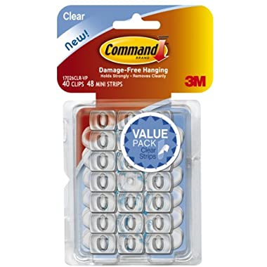 Command Decorating Clips, Clear, 40-Clips (17026CLR-40ES)